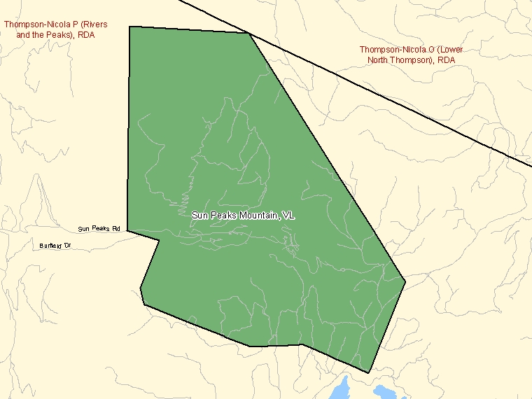 Map: Sun Peaks Mountain, Village, Census Subdivision (shaded in green), British Columbia