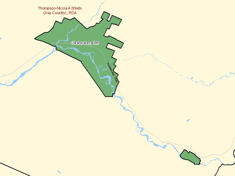 Map: Clearwater, District municipality, Census Subdivision (shaded in green), British Columbia