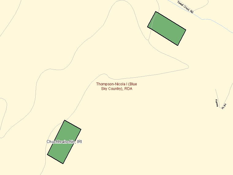 Map: Chuchhraischin, Indian reserve, Census Subdivision (shaded in green), British Columbia