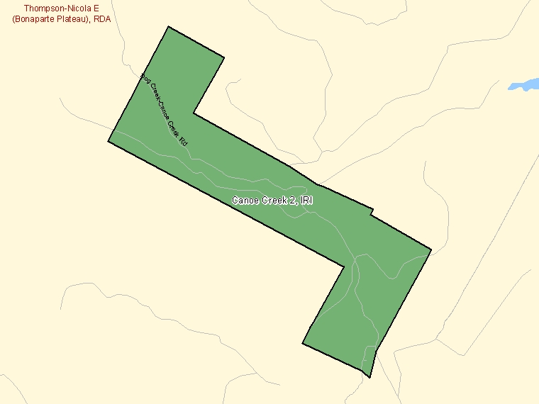 Map: Canoe Creek 2, Indian reserve, Census Subdivision (shaded in green), British Columbia