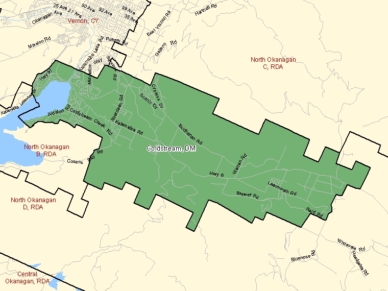 Map of Coldstream (shaded in green), British Columbia