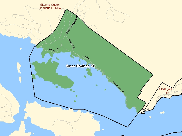 Map: Queen Charlotte, Village, Census Subdivision (shaded in green), British Columbia
