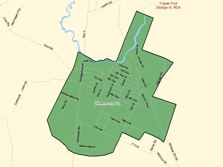Map: Valemount, Village, Census Subdivision (shaded in green), British Columbia