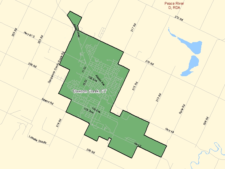 Map: Dawson Creek, City, Census Subdivision (shaded in green), British Columbia
