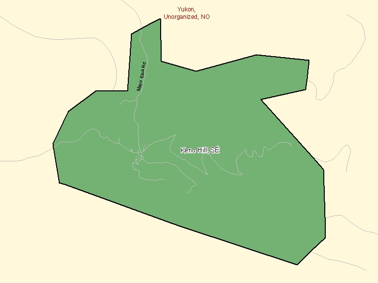Map: Keno Hill, Settlement, Census Subdivision (shaded in green), Yukon
