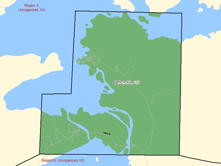 Map: Behchokò, Community government, Census Subdivision (shaded in green), Northwest Territories