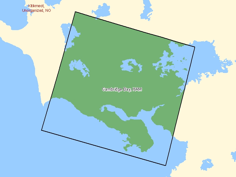 Map: Cambridge Bay, Hamlet, Census Subdivision (shaded in green), Nunavut