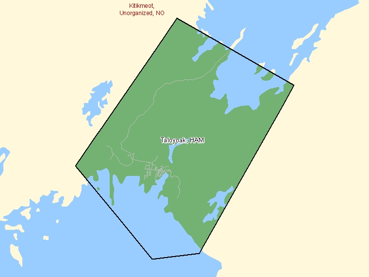 Map: Taloyoak, Hamlet, Census Subdivision (shaded in green), Nunavut