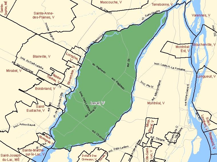 Carte : Laval : V, Québec (Subdivision de recensement) ombrée en vert