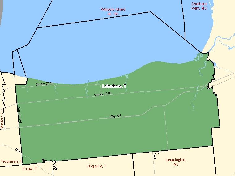 Carte : Lakeshore : T, Ontario (Subdivision de recensement) ombrée en vert