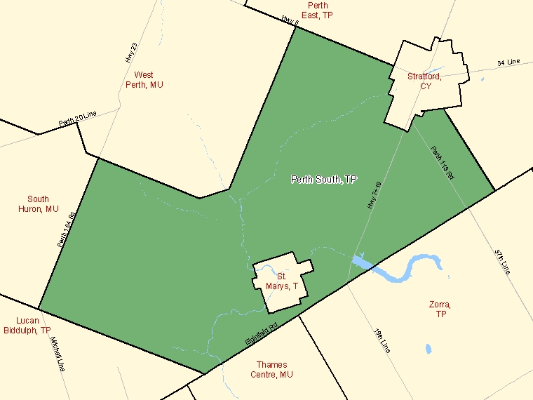 Carte : Perth South, Township, Subdivision de recensement (ombrée en vert), Ontario