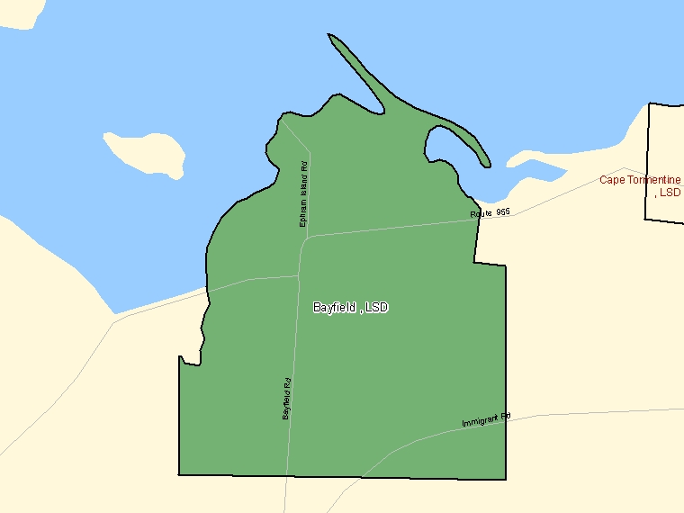 Map: Bayfield, LSD, Designated Place (shaded in green), New Brunswick
