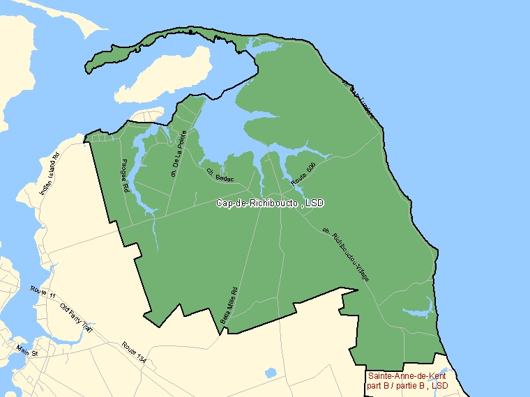 Map: Cap-de-Richiboucto, LSD, Designated Place (shaded in green), New Brunswick