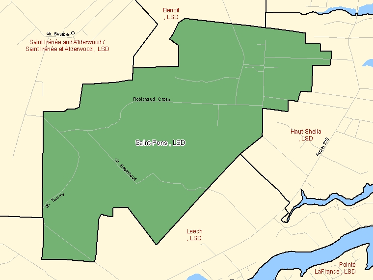 Map: Saint-Pons, LSD, Designated Place (shaded in green), New Brunswick