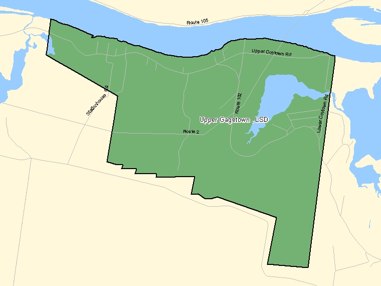 Map: Upper Gagetown, LSD, Designated Place (shaded in green), New Brunswick