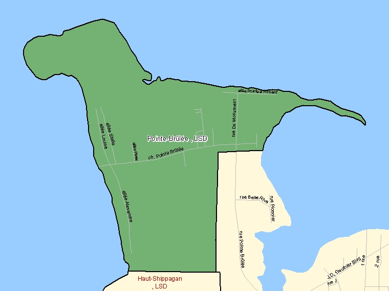 Map: Pointe-Brûlée, LSD, Designated Place (shaded in green), New Brunswick