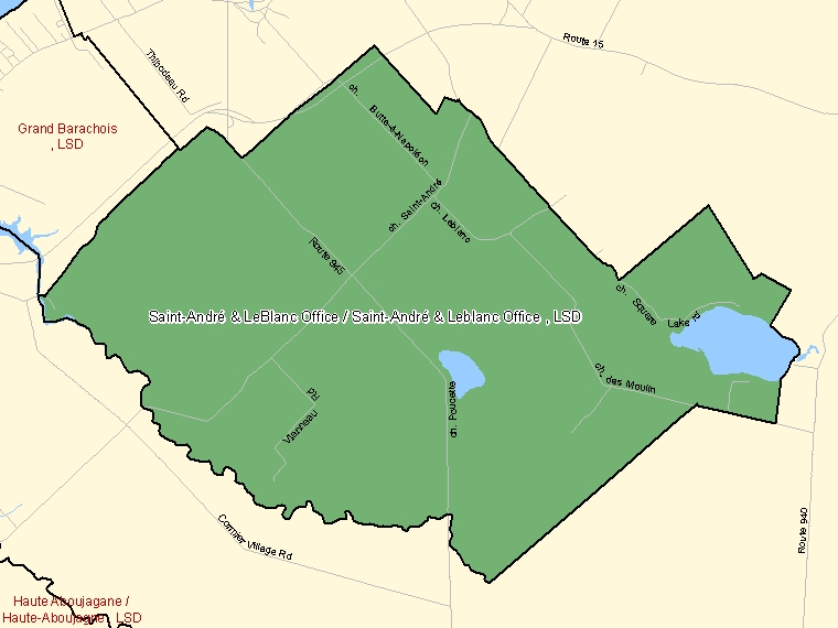 Map: Saint-André & LeBlanc Office / Saint-André & Leblanc Office, LSD, Designated Place (shaded in green), New Brunswick
