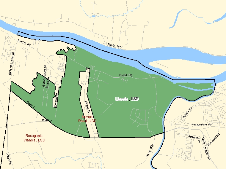 Map: Lincoln, LSD, Designated Place (shaded in green), New Brunswick