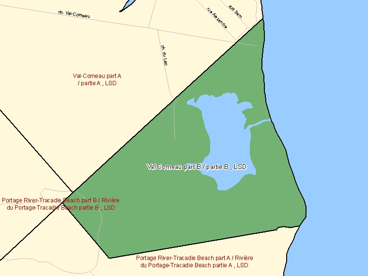 Map: Val Comeau part B / partie B, LSD, Designated Place (shaded in green), New Brunswick