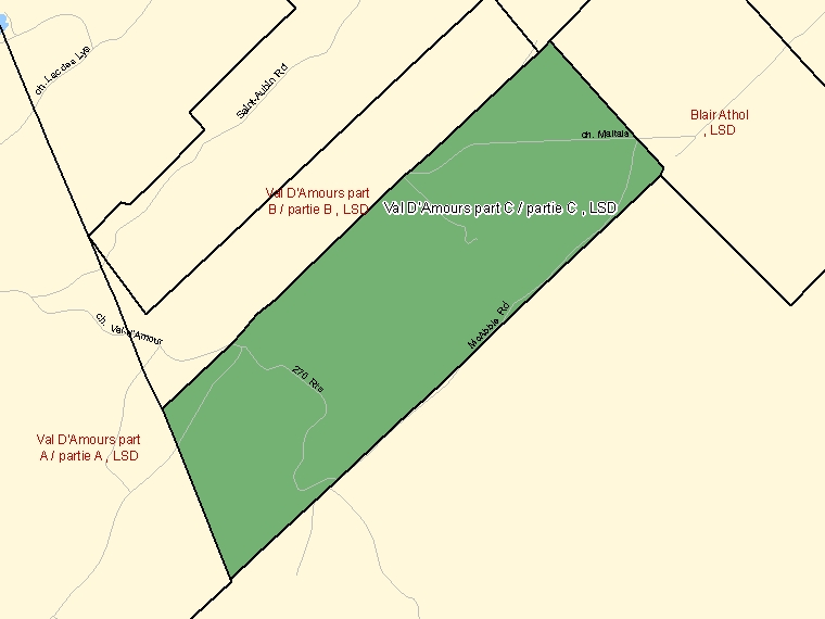 Map: Val D'Amours part C / partie C, LSD, Designated Place (shaded in green), New Brunswick