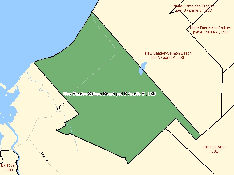 Map: New Bandon-Salmon Beach part B / partie B, LSD, Designated Place (shaded in green), New Brunswick
