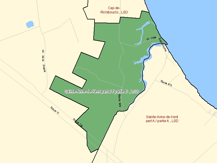 Map: Sainte-Anne-de-Kent part B / partie B, LSD, Designated Place (shaded in green), New Brunswick