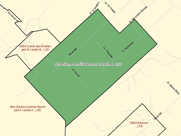 Map: Notre-Dame-des-Érables part A / partie A, LSD, Designated Place (shaded in green), New Brunswick