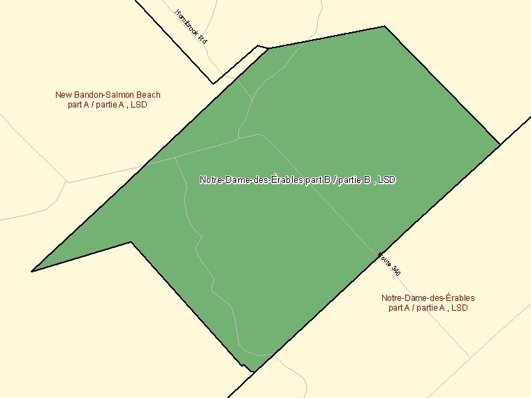 Map: Notre-Dame-des-Érables part B / partie B, LSD, Designated Place (shaded in green), New Brunswick