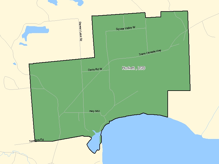 Map: Hurkett, LSB, Designated Place (shaded in green), Ontario