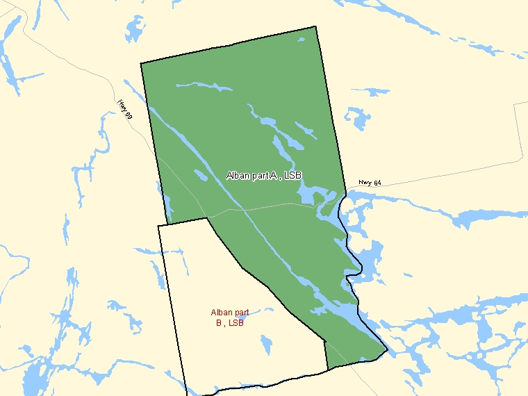 Map: Alban part A, LSB, Designated Place (shaded in green), Ontario