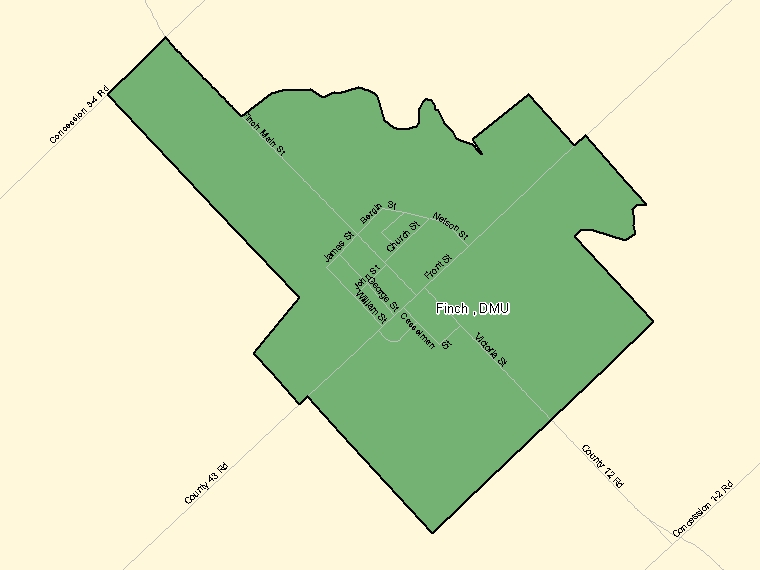 Map: Finch, DMU, Designated Place (shaded in green), Ontario