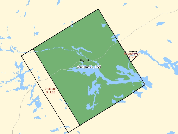 Map: Croft part A, LSB, Designated Place (shaded in green), Ontario