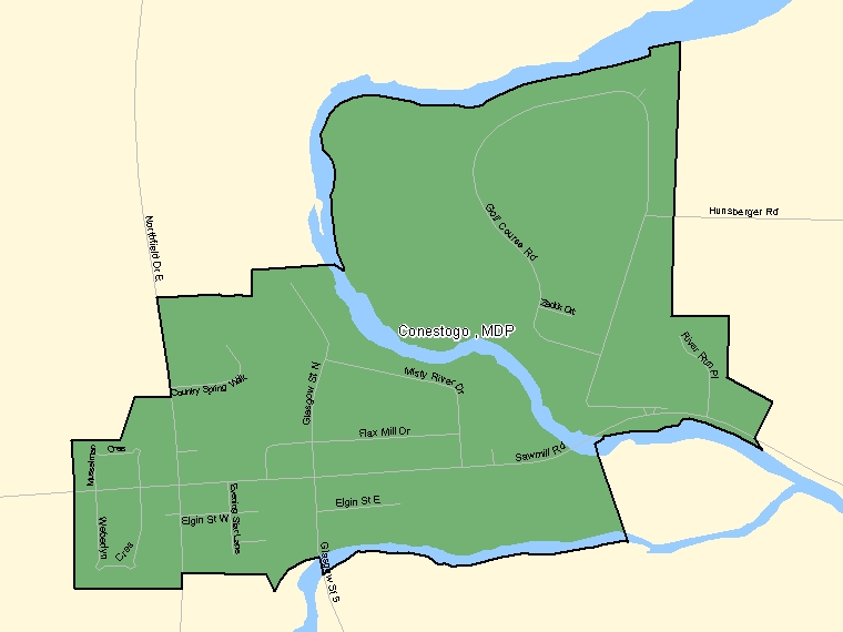 Map: Conestogo, MDP, Designated Place (shaded in green), Ontario