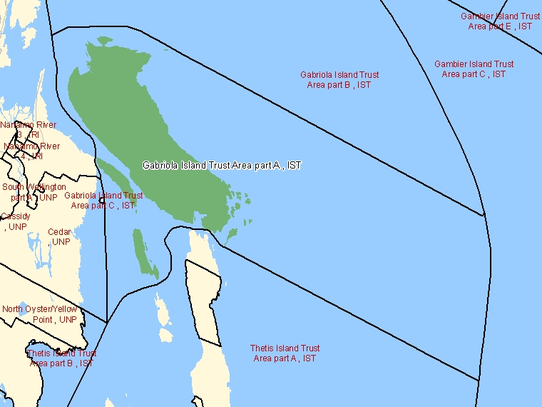Map: Gabriola Island Trust Area part A, IST, Designated Place (shaded in green), British Columbia