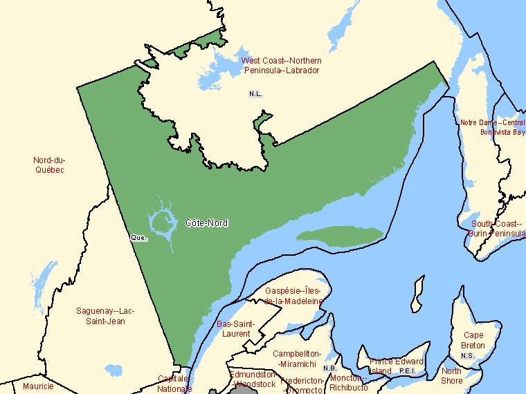 Map: Côte-Nord, Economic Region (shaded in green), Quebec
