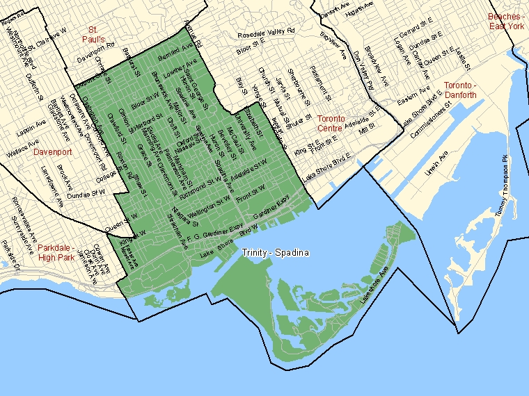 Map : Trinity - Spadina, Ontario (Federal Electoral Districts) shaded in green