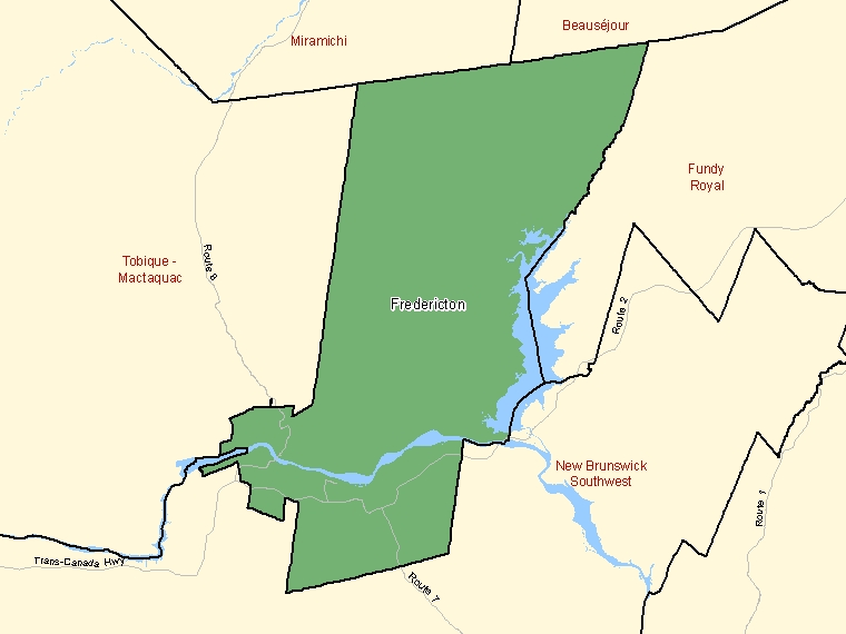 Map: Fredericton, Federal electoral district, 2003 Representation Order (shaded in green), New Brunswick