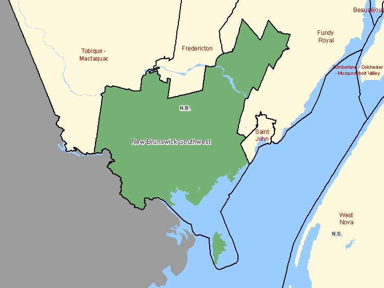 Map: New Brunswick Southwest, Federal electoral district, 2003 Representation Order (shaded in green), New Brunswick