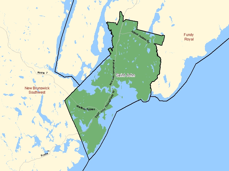 Map: Saint John, Federal electoral district (shaded in green), New Brunswick