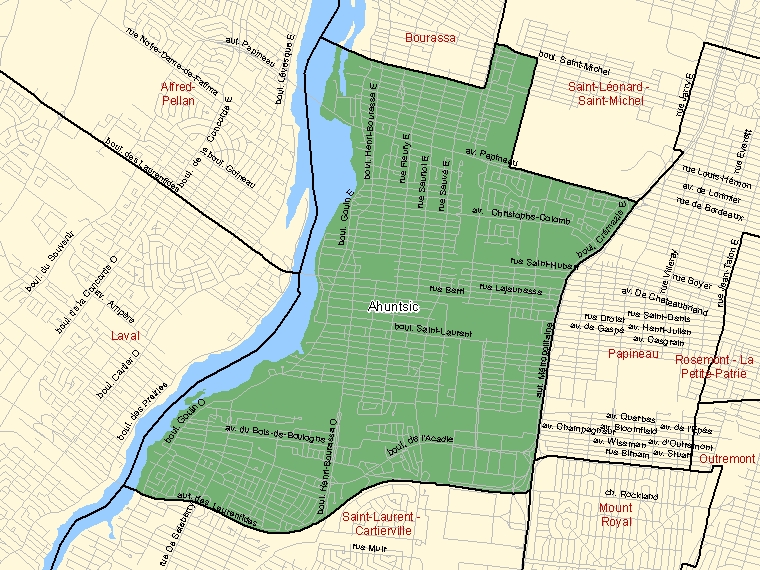 Map: Ahuntsic, Federal electoral district, 2003 Representation Order (shaded in green), Quebec