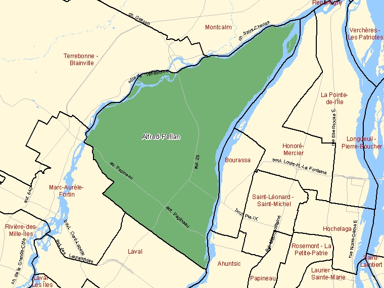 Map: Alfred-Pellan, Federal electoral district, 2003 Representation Order (shaded in green), Quebec