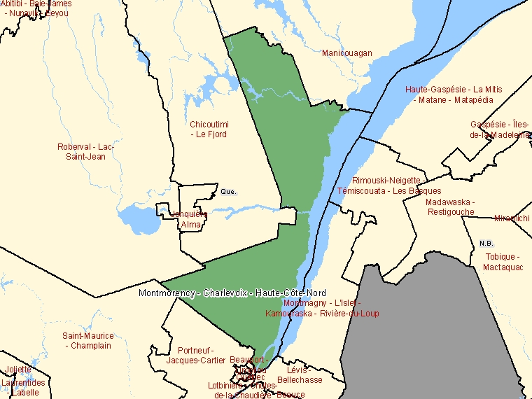 Map: Montmorency - Charlevoix - Haute-Côte-Nord, Federal electoral district, 2003 Representation Order (shaded in green), Quebec