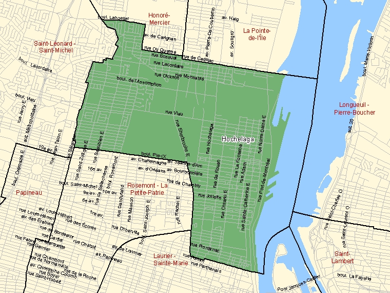 Map: Hochelaga, Federal electoral district, 2003 Representation Order (shaded in green), Quebec