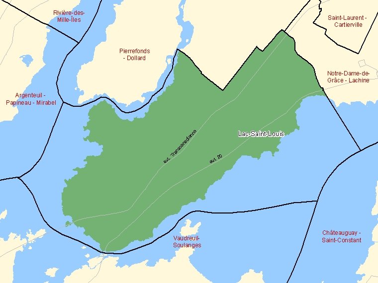 Map: Lac-Saint-Louis, Federal electoral district, 2003 Representation Order (shaded in green), Quebec