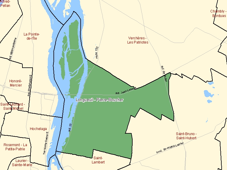 Map: Longueuil - Pierre-Boucher, Federal electoral district, 2003 Representation Order (shaded in green), Quebec