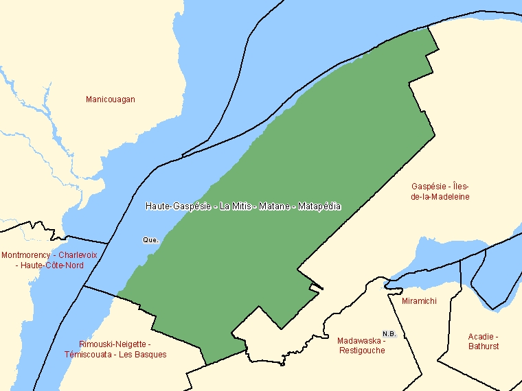 Map: Haute-Gaspésie - La Mitis - Matane - Matapédia, Federal electoral district, 2003 Representation Order (shaded in green), Quebec