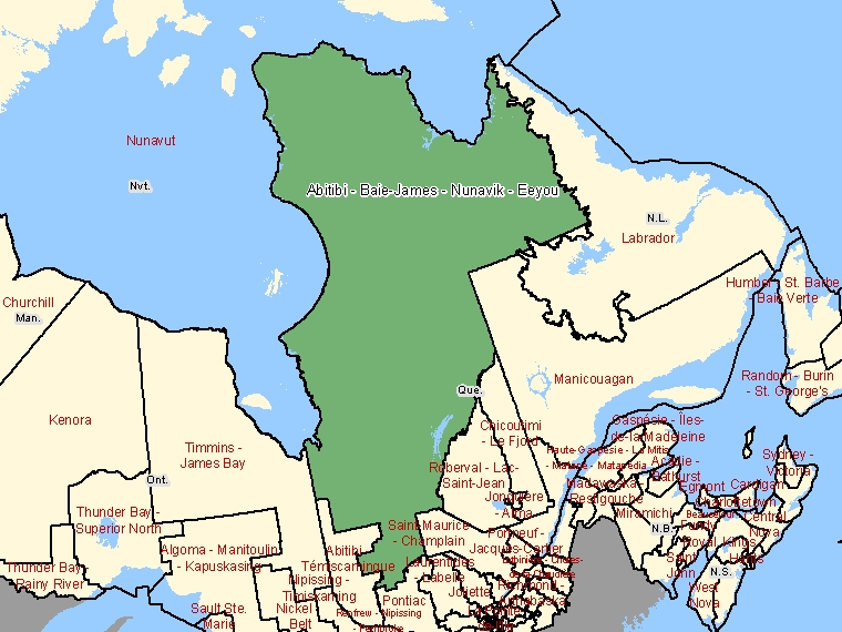 Map: Abitibi - Baie-James - Nunavik - Eeyou, Federal electoral district, 2003 Representation Order (shaded in green), Quebec
