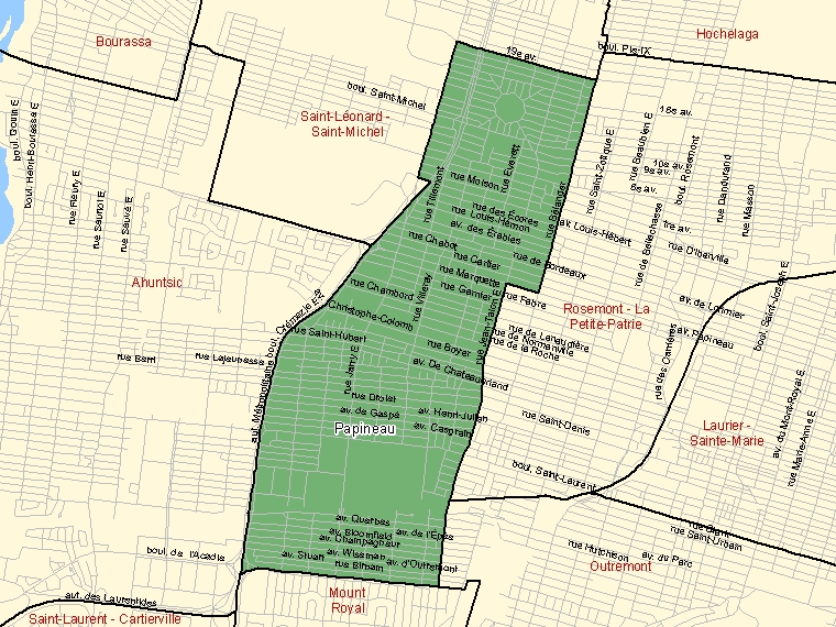 Map: Papineau, Federal electoral district, 2003 Representation Order (shaded in green), Quebec