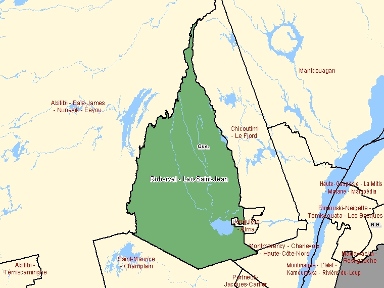 Map: Roberval - Lac-Saint-Jean, Federal electoral district, 2003 Representation Order (shaded in green), Quebec