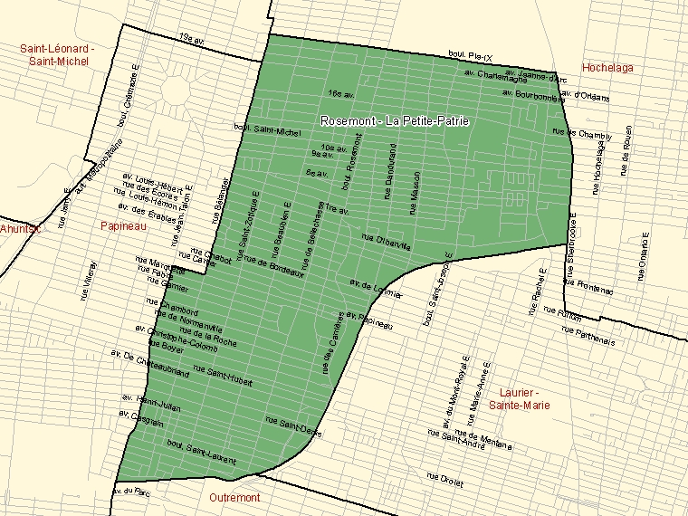 Map: Rosemont - La Petite-Patrie, Federal electoral district, 2003 Representation Order (shaded in green), Quebec